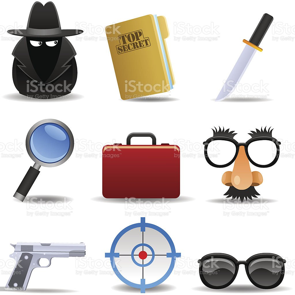 Secret Agent Set vector art illustration