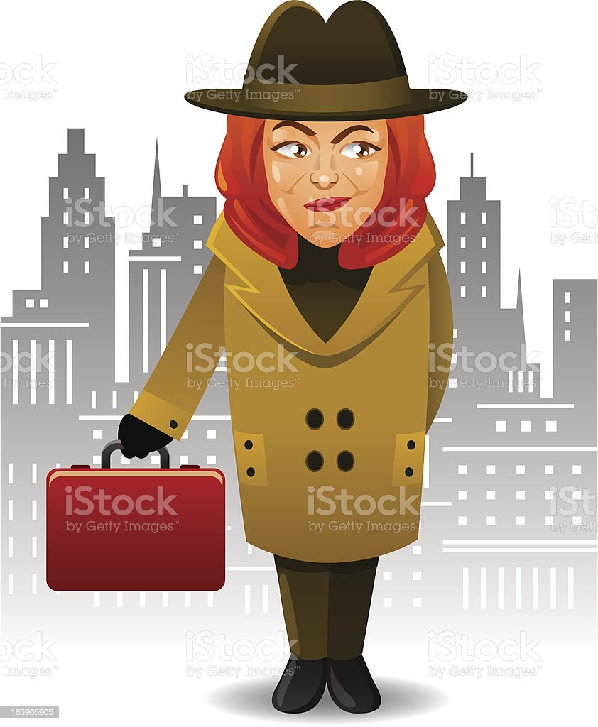 Secret Agent Woman royalty-free stock vector art