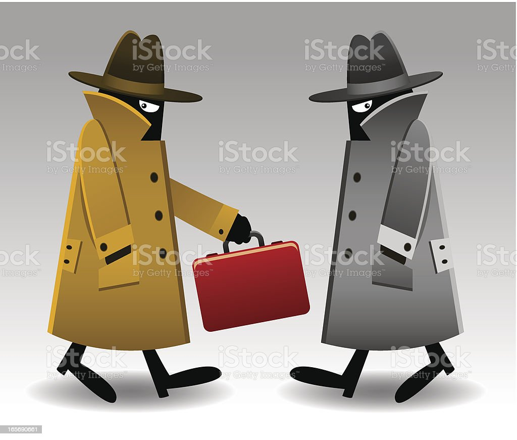 Secret Agents with Red Briefcase royalty-free stock vector art