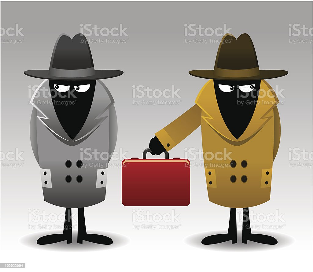 Secret agents with red suitcase royalty-free stock vector art