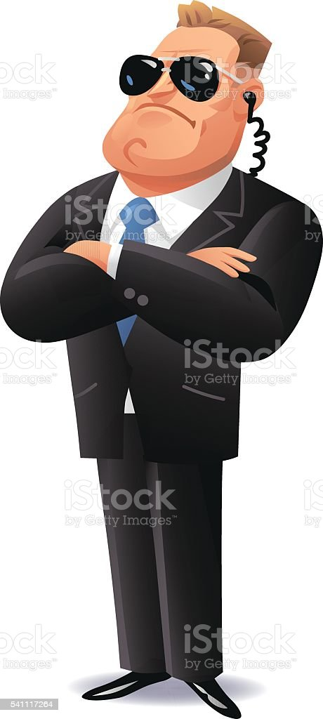 Secret Service Agent vector art illustration