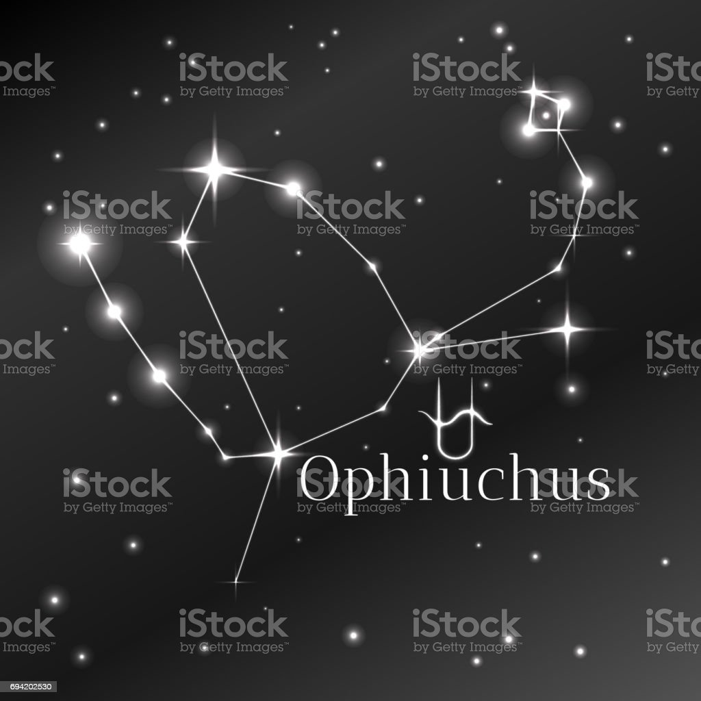 Secret symbol of Ophiuchus zodiac sign, horoscope, vector art and illustration. vector art illustration