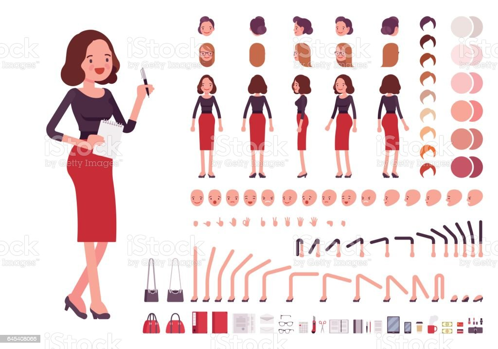 Secretary character creation set vector art illustration