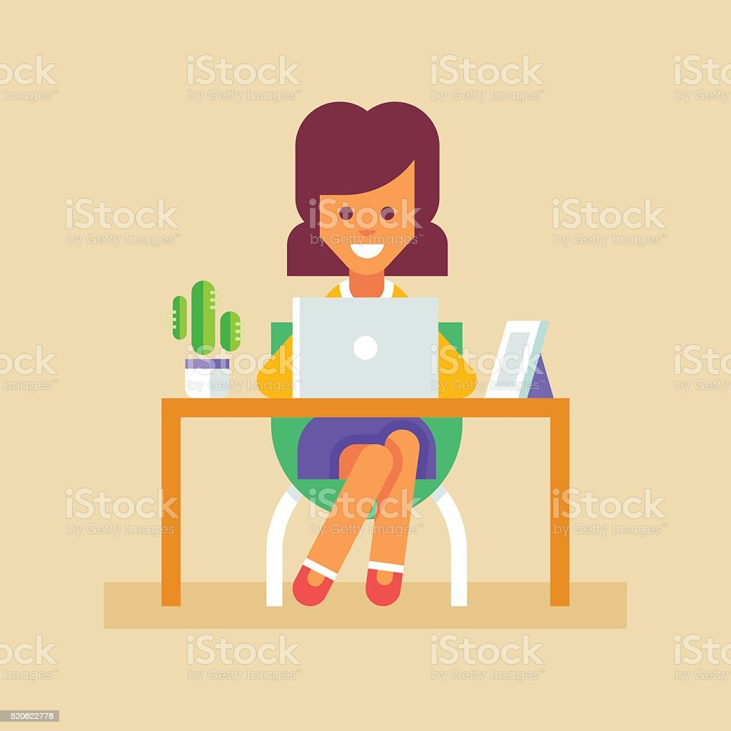 Secretary working with laptop. Vector. vector art illustration