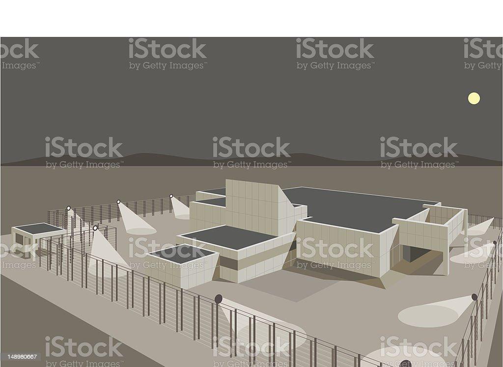 Secure Building vector art illustration