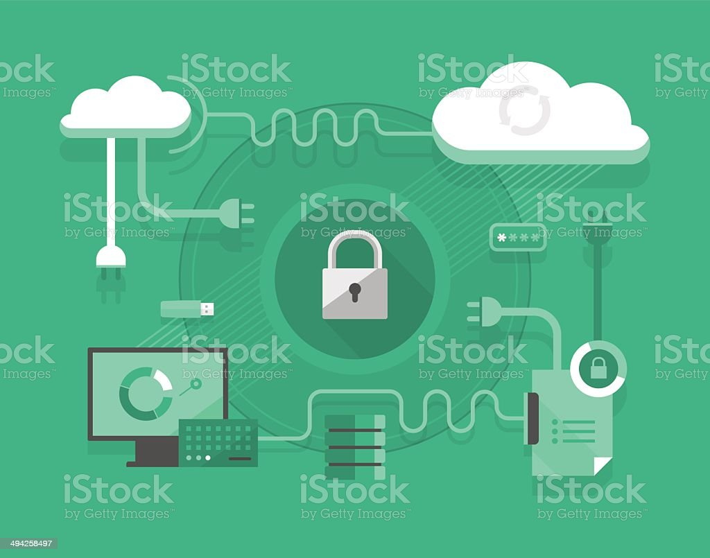 Secure Cloud Computing vector art illustration