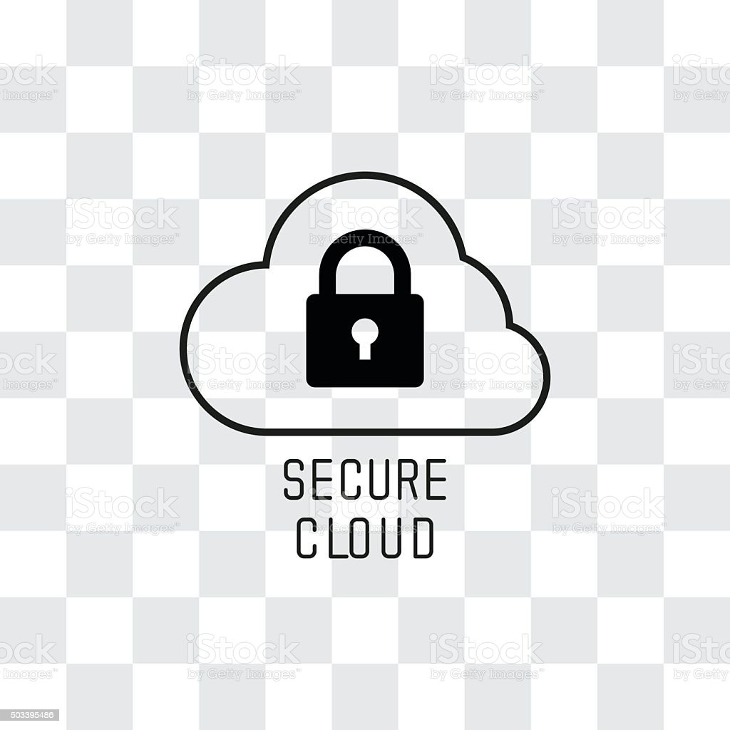 Secure Cloud Technology. Cloud and padlock vector art illustration