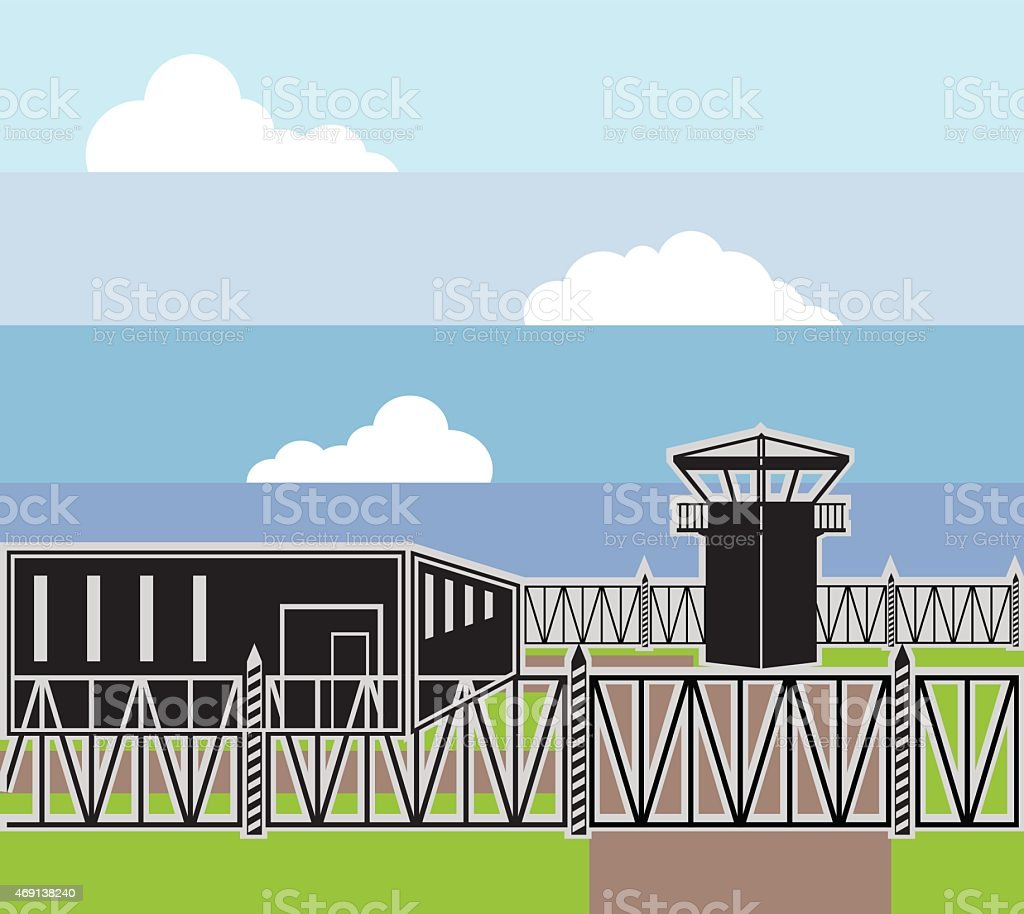 Secure Facility Prison Camp vector art illustration