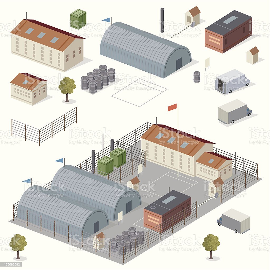 Secure Facility vector art illustration