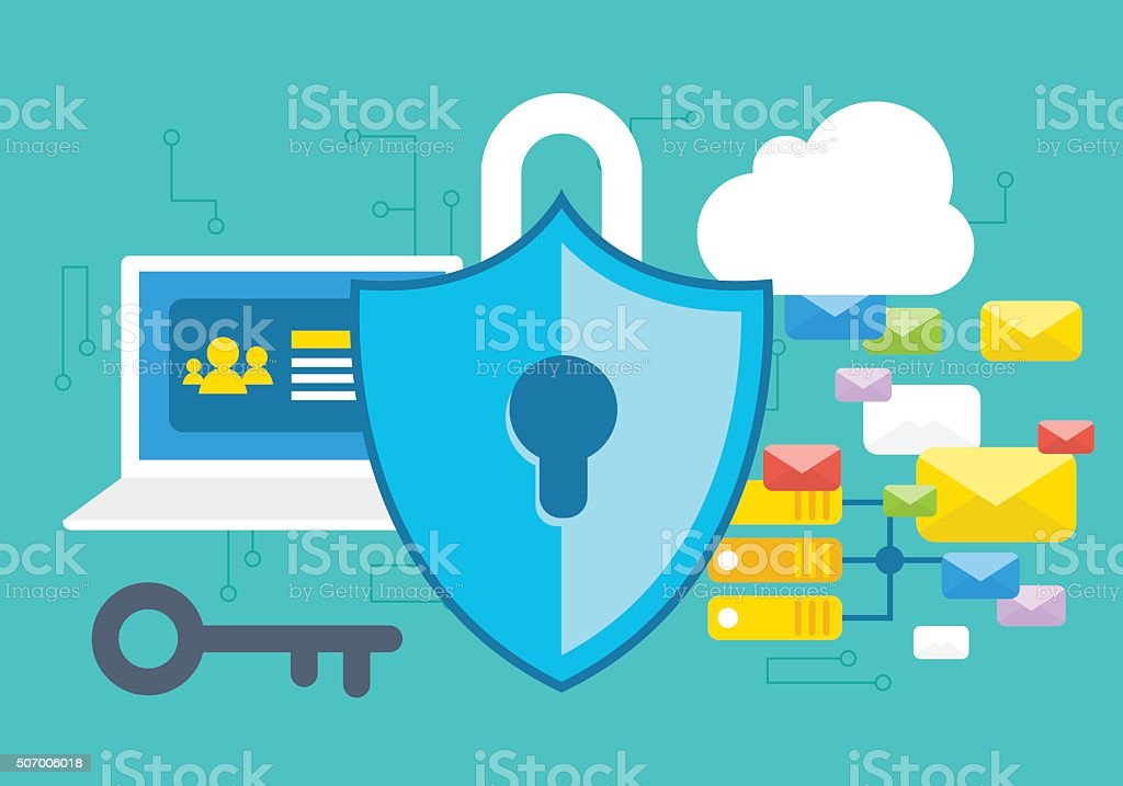 Secure Internet Concept vector art illustration