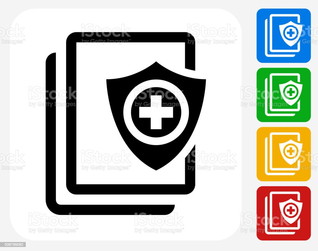 Secure Medical Files Icon Flat Graphic Design vector art illustration