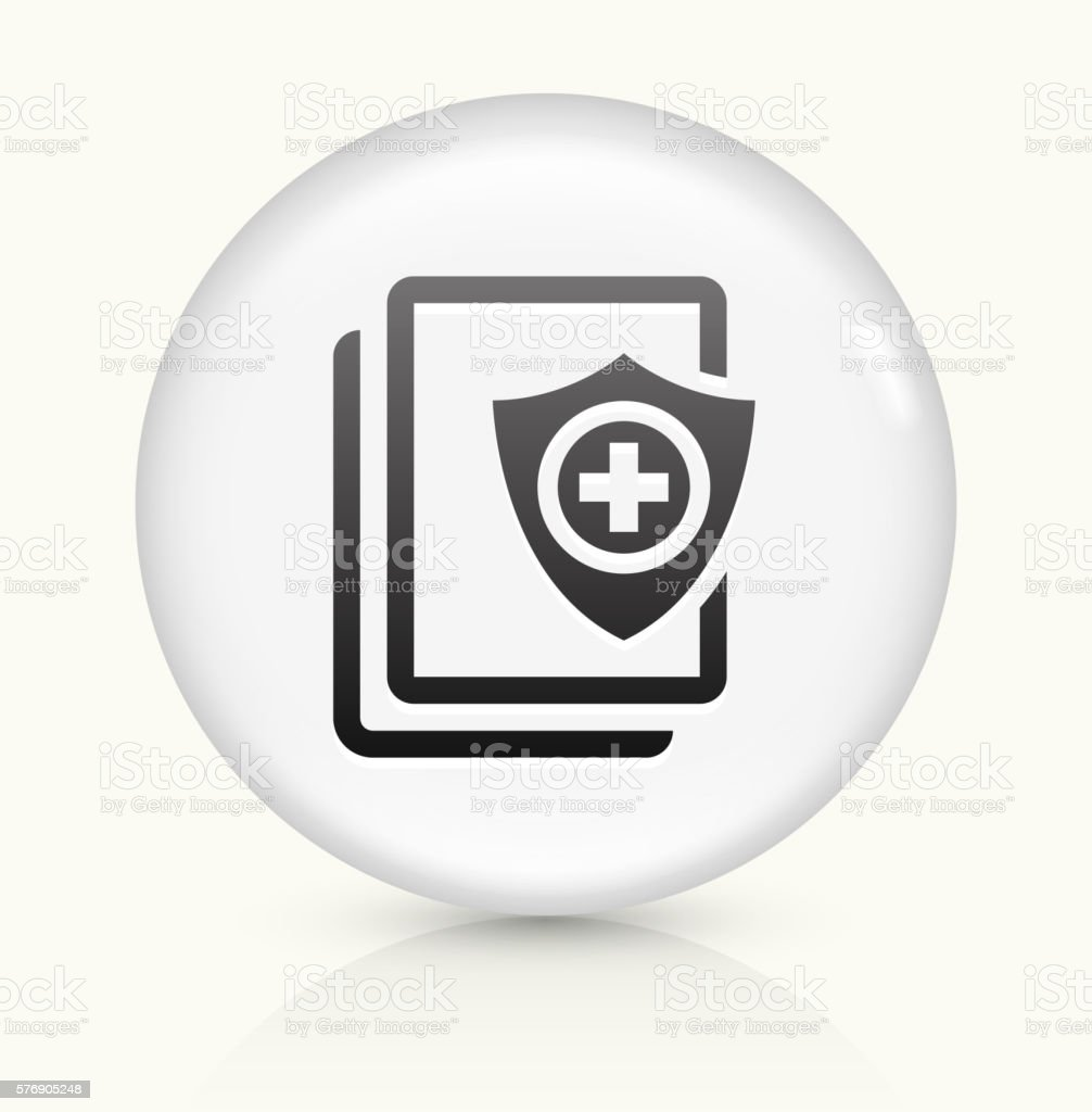 Secure Medical Files icon on white round vector button vector art illustration