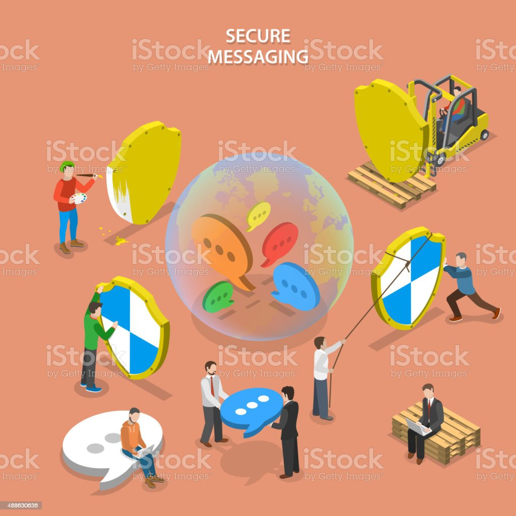 Secure messaging isometric flat vector concept. vector art illustration