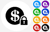 Secure Money Icon on Flat Color Circle Buttons