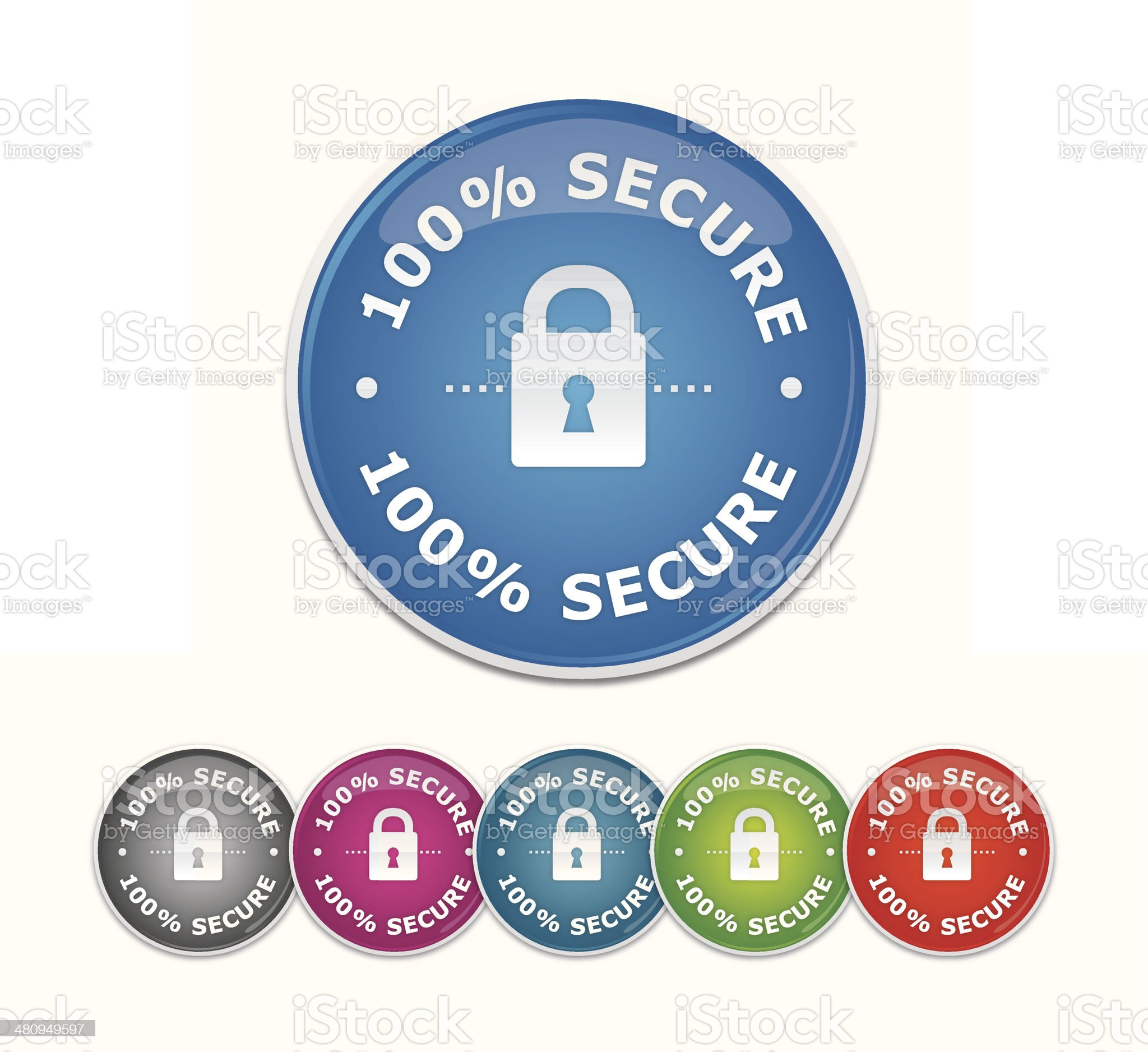 Secure shopping glossy buttons royalty-free stock vector art