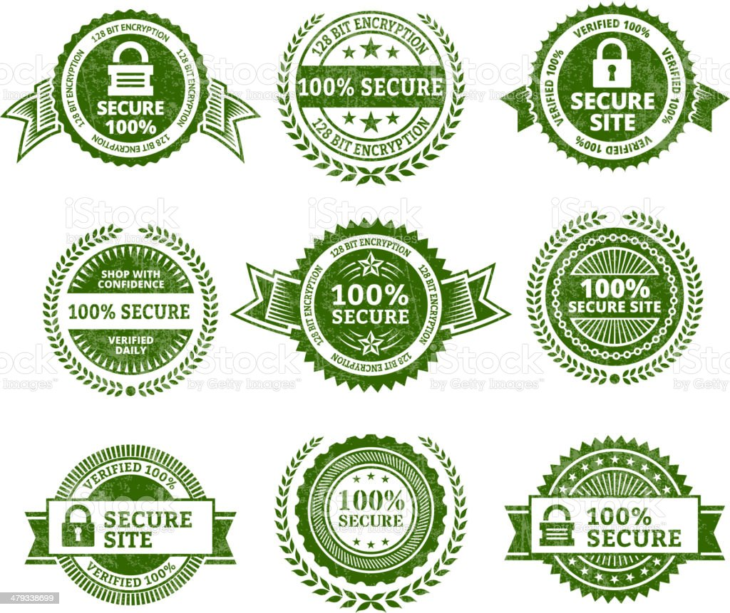 Secure Site Badges Color Set royalty-free stock vector art