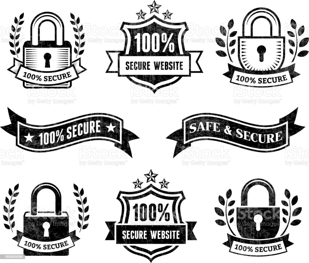 Secure Website black & white royalty free vector icon set royalty-free stock vector art