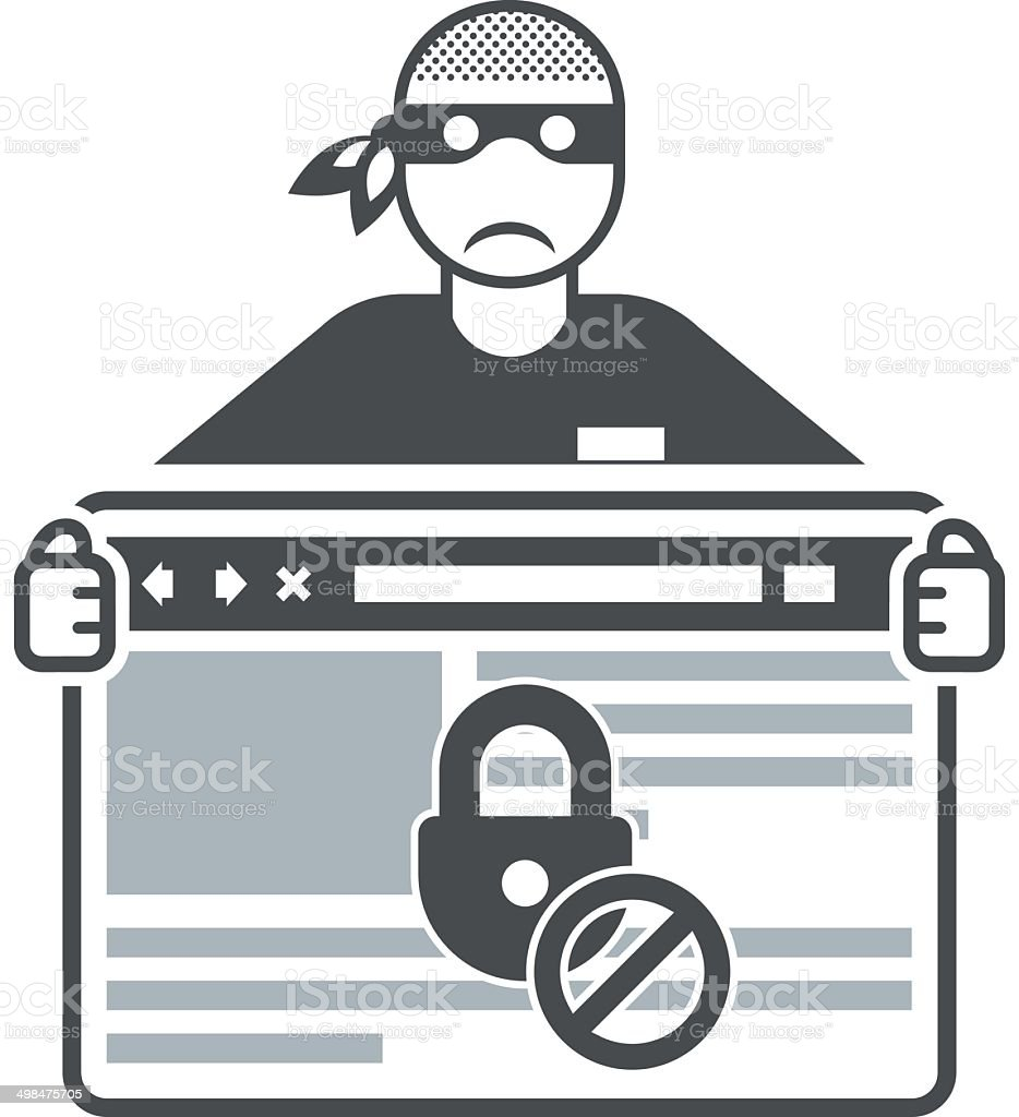 Secure website - internet swindler (hacker) vector art illustration