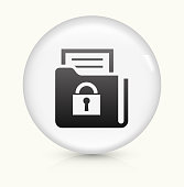 Secured Documents icon on white round vector button