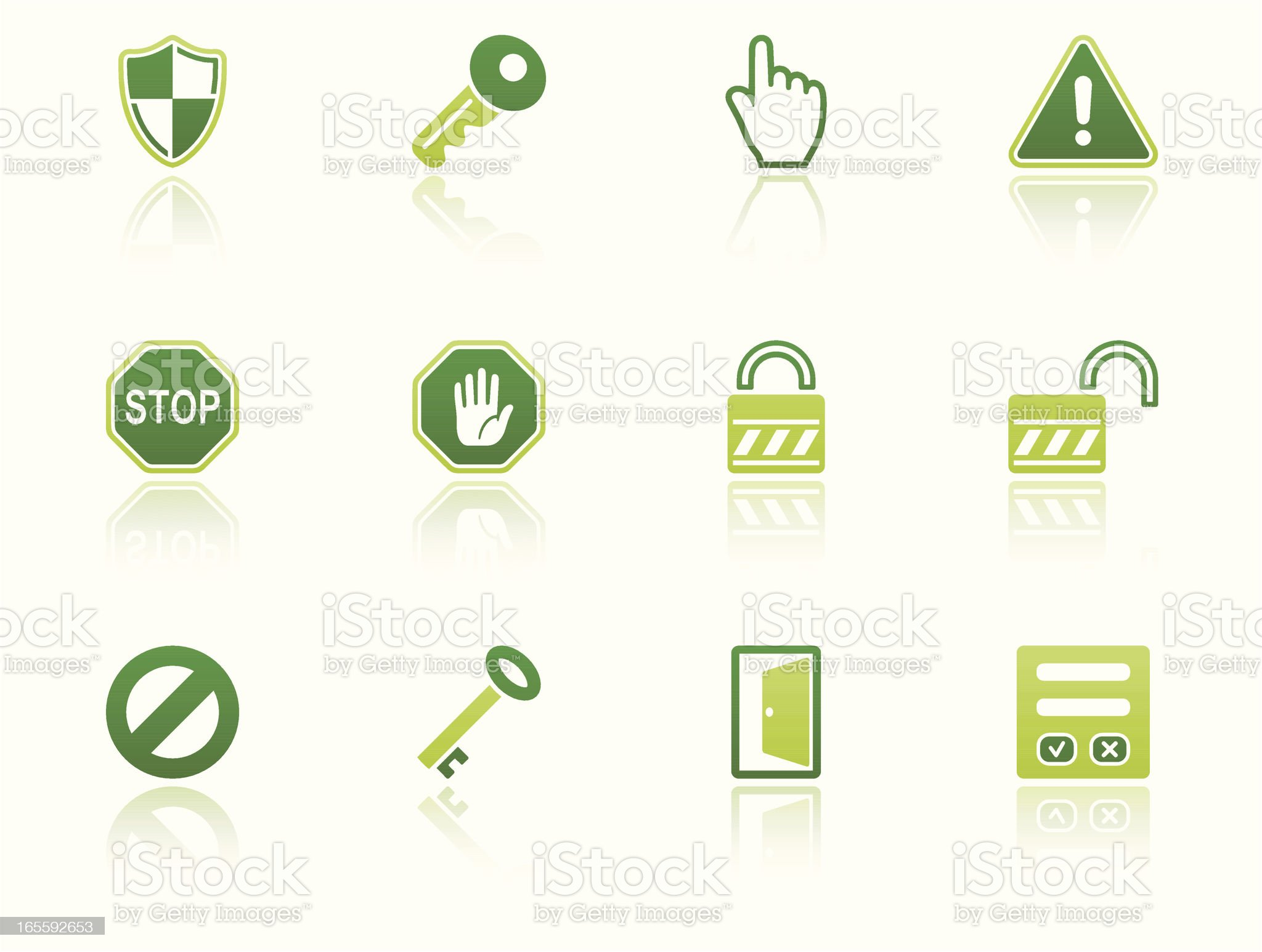 security & access icon set eco reflection royalty-free stock vector art