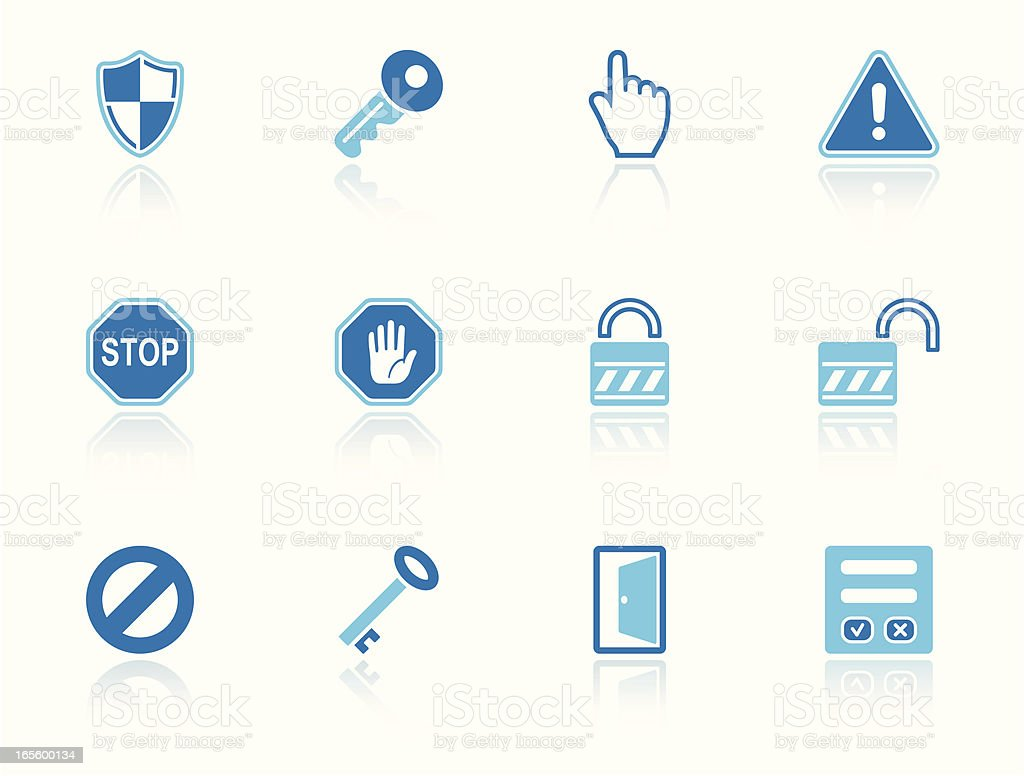 security & access icon set sky reflection royalty-free stock vector art