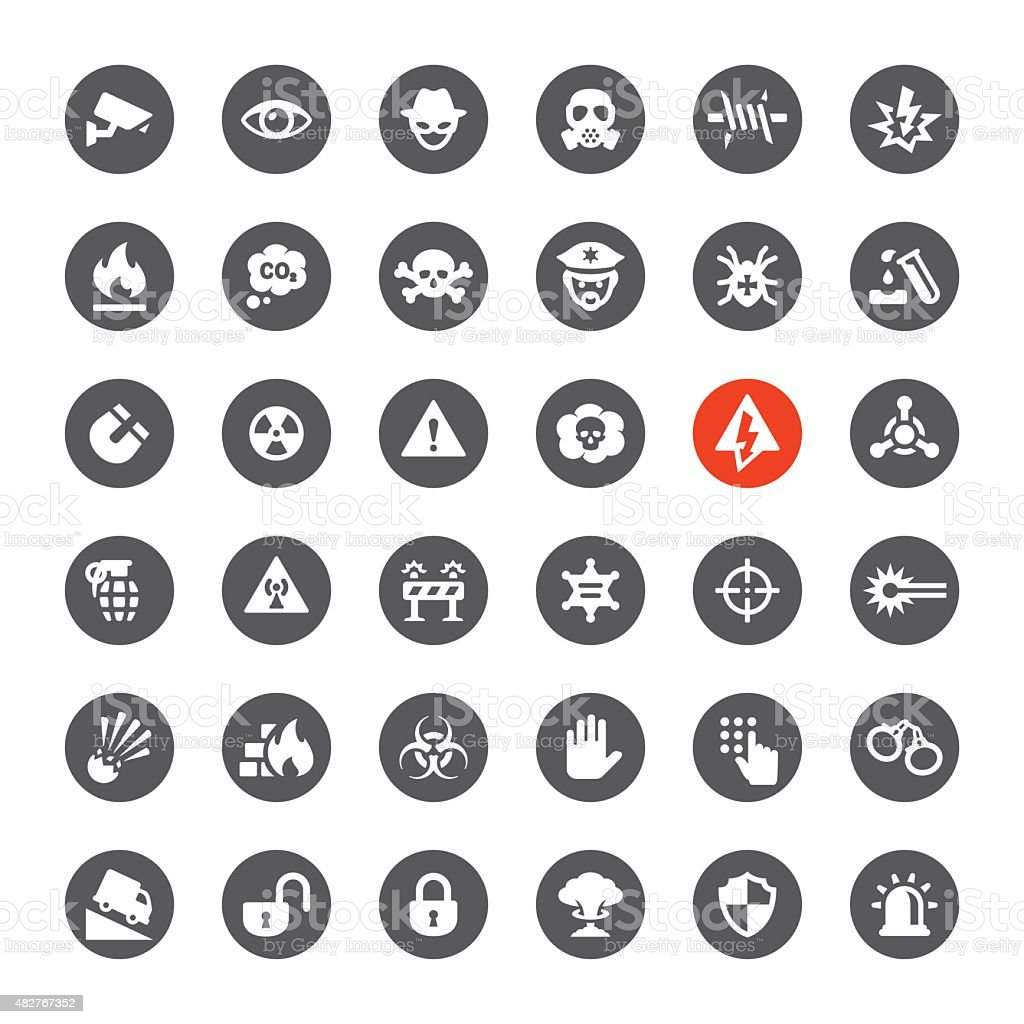 Security and Danger vector icons vector art illustration