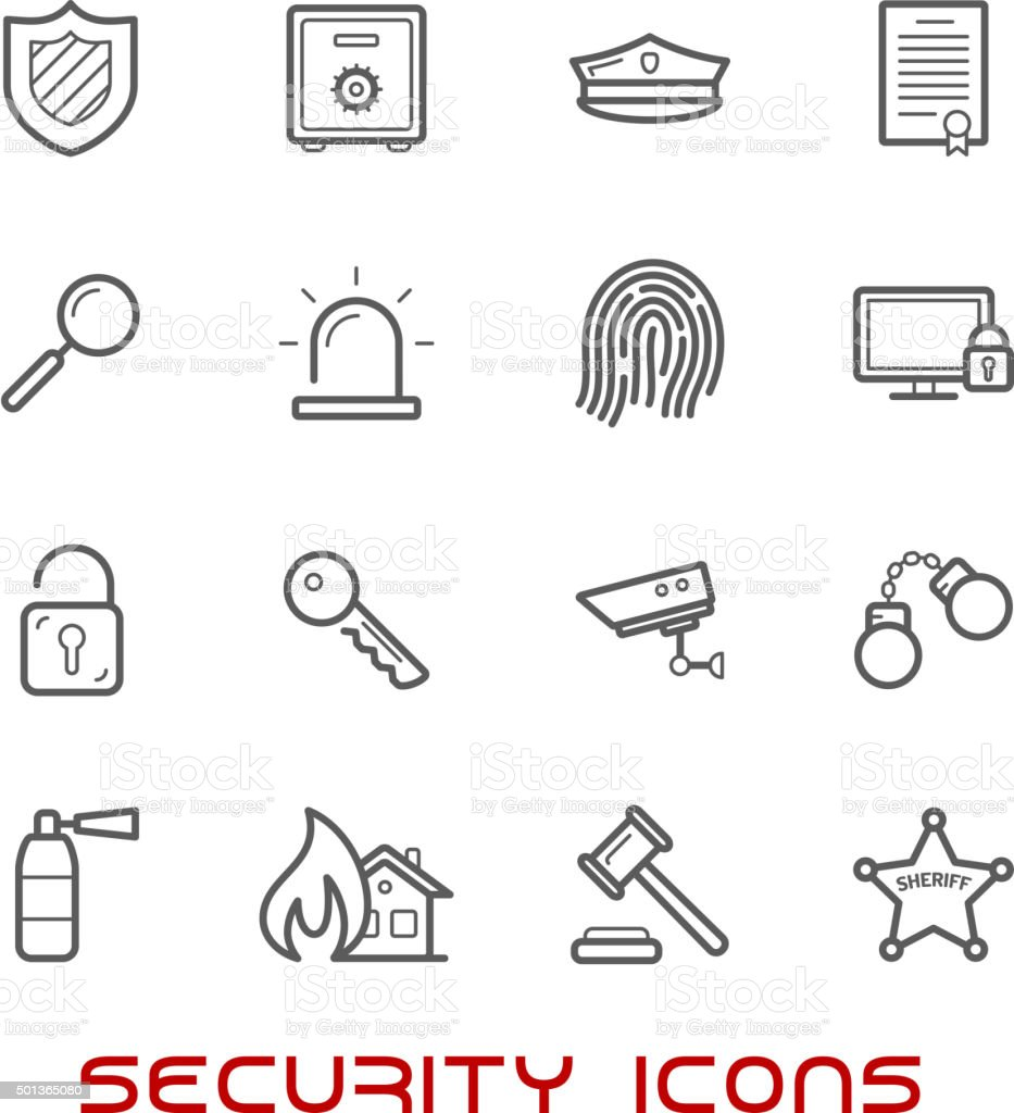 Security and protection thin line style icons vector art illustration