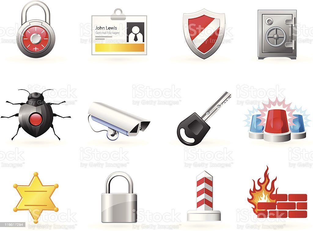 Security and Safety icons royalty-free stock vector art