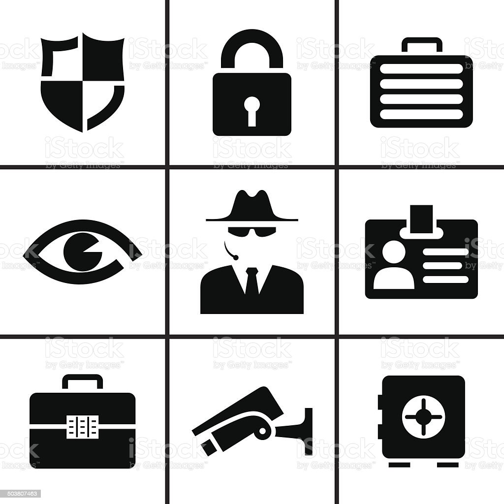 Security and safey icons set vector art illustration