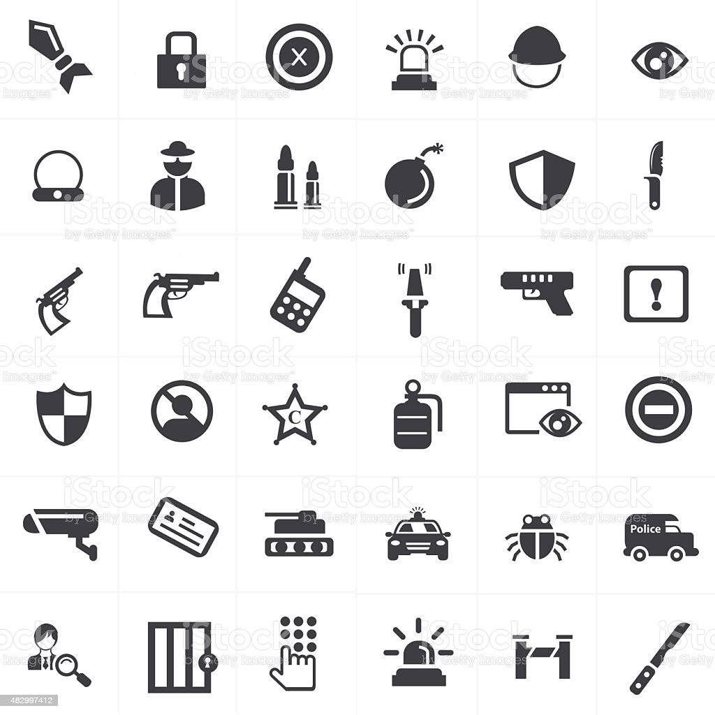 security and weapon icons set vector art illustration