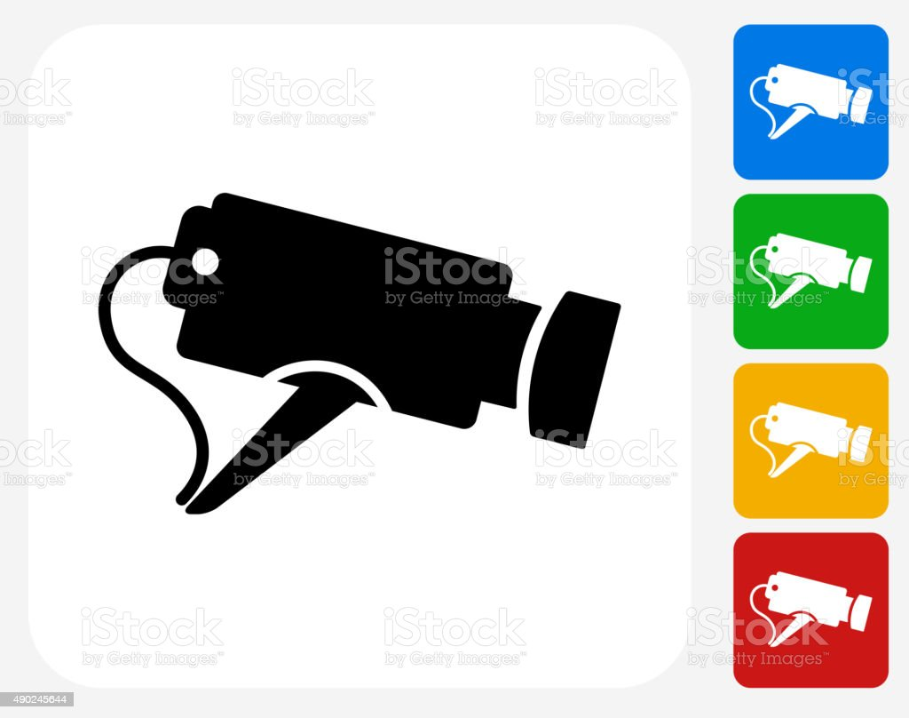 Security Camera Icon Flat Graphic Design vector art illustration