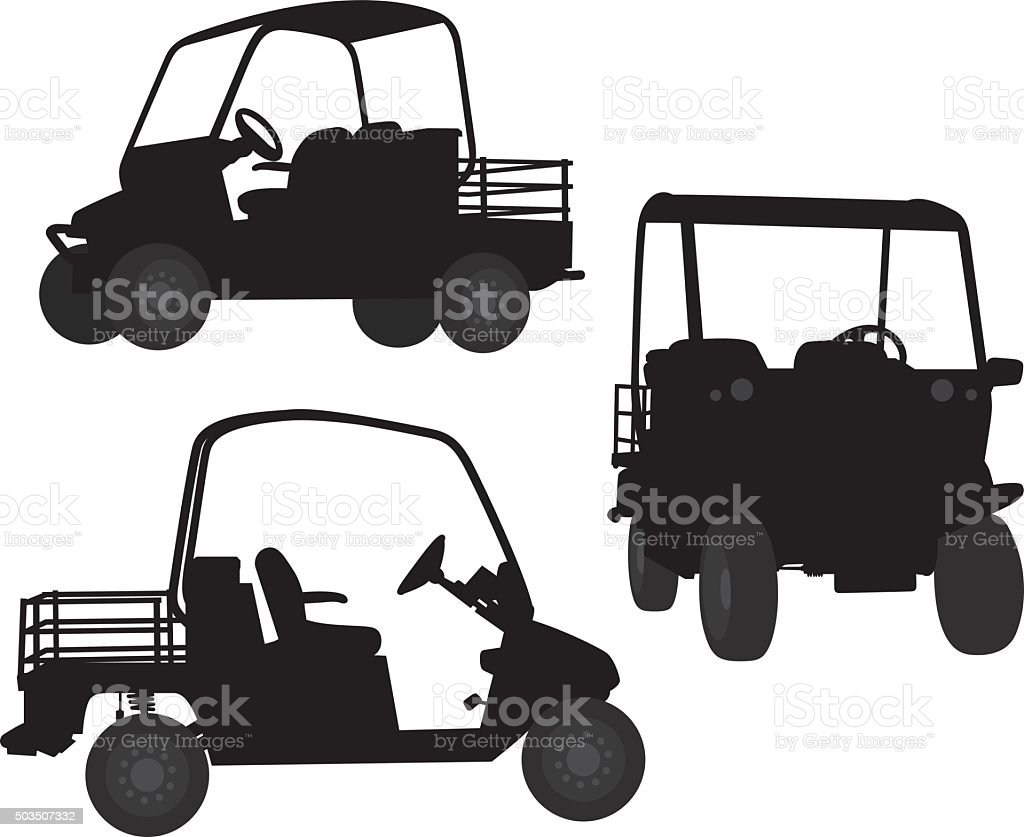 Security Cart Silhouettes vector art illustration
