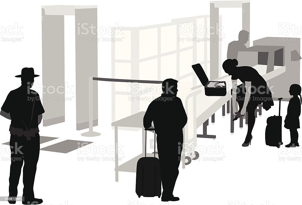 Security Check Vector Silhouette royalty-free stock vector art