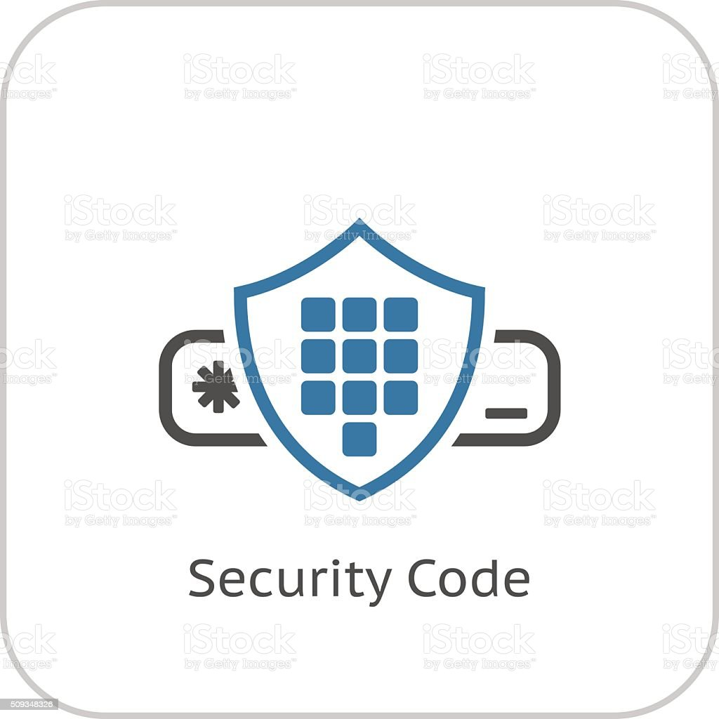 Security Code Icon. Flat Design. vector art illustration