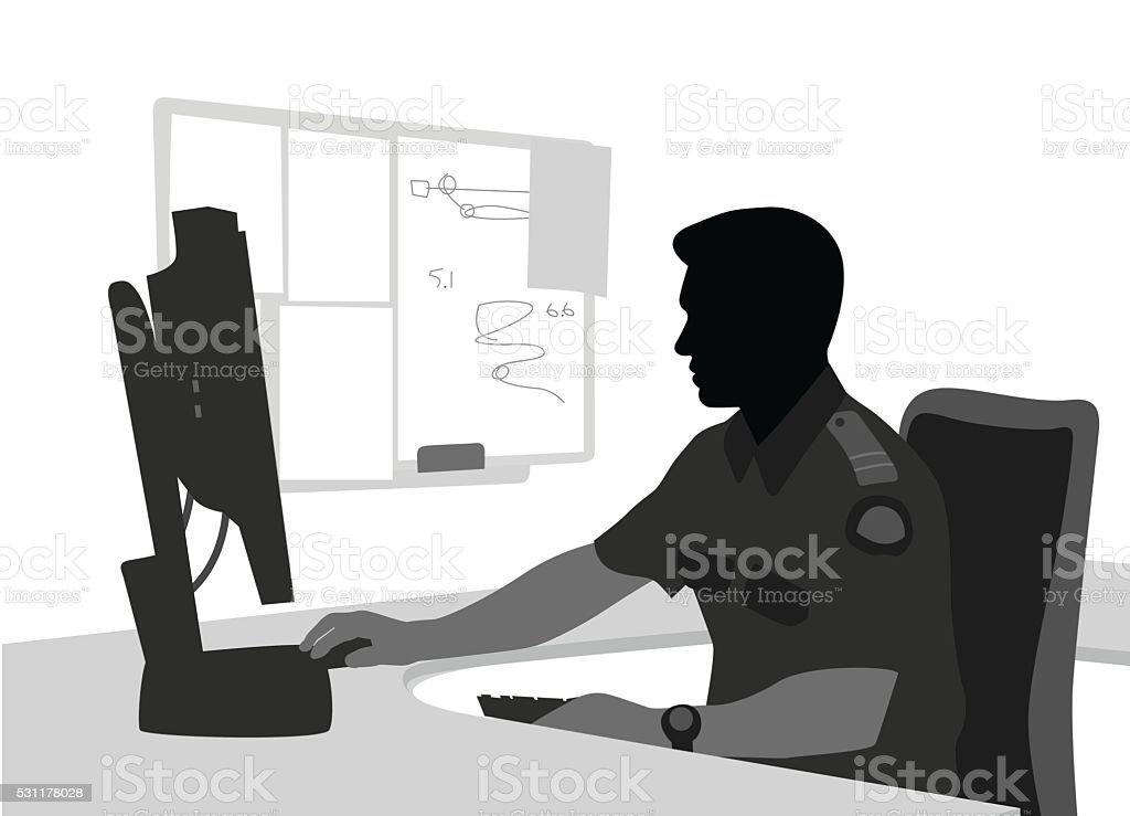 Security Computer Work vector art illustration