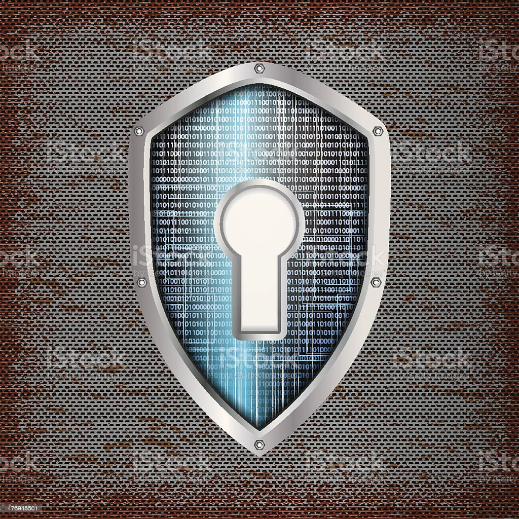 Security concept: blue shield with rusty metal background vector art illustration