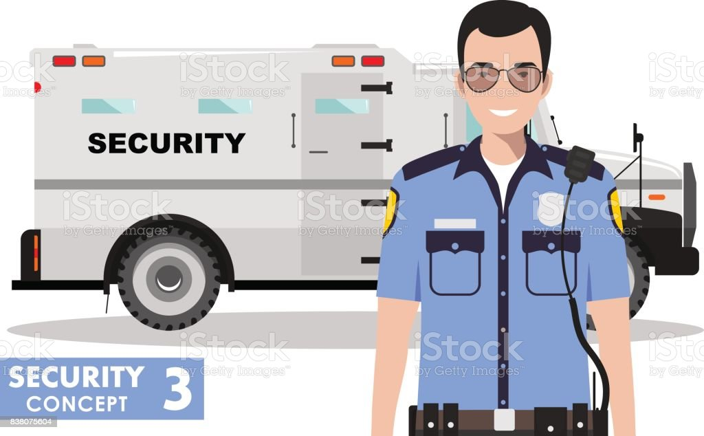 Security concept. Detailed illustration of armored car and security guard on white background in flat style. Vector illustration. vector art illustration