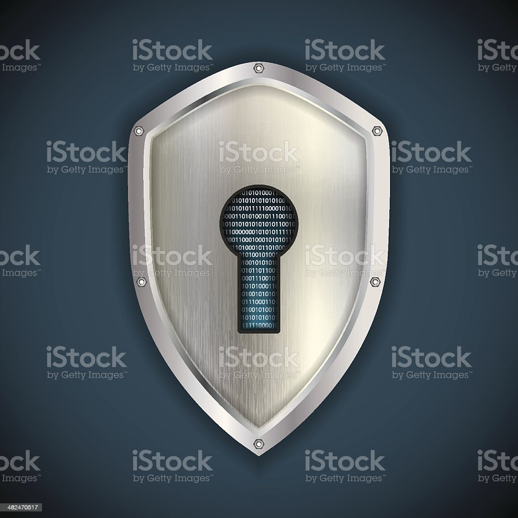 Security concept: metal silver shield vector art illustration