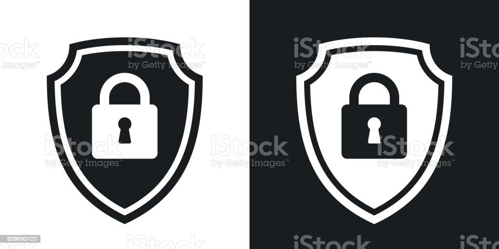 Security concept simple icon on black and white background vector art illustration