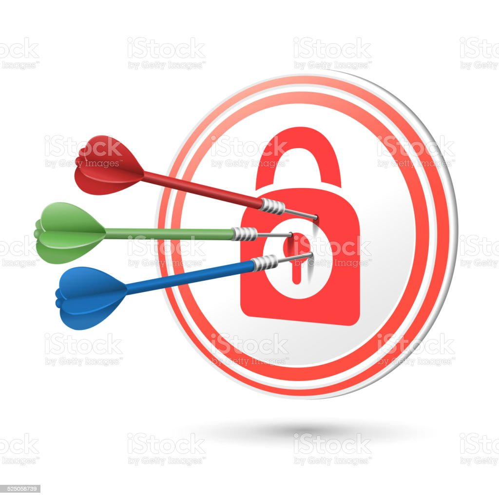 security concept target with darts hitting on it vector art illustration