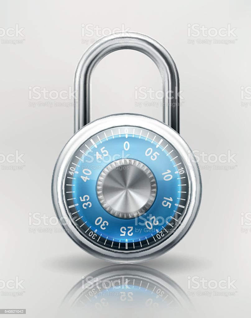 Security Concept with Combination Padlock vector art illustration