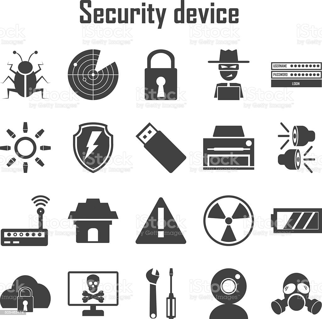 Security device icons set. vector art illustration