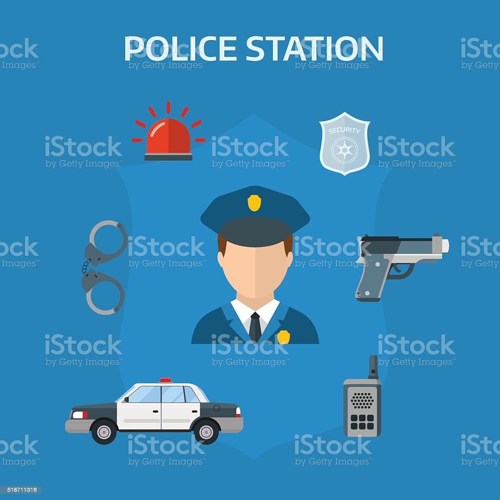 Security elements of the police equipment symbols vector icons vector art illustration