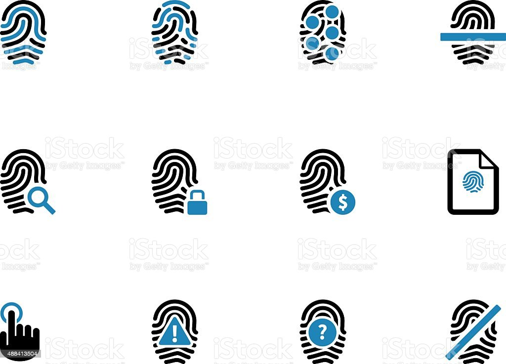 Security fingerprint duotone icons vector art illustration