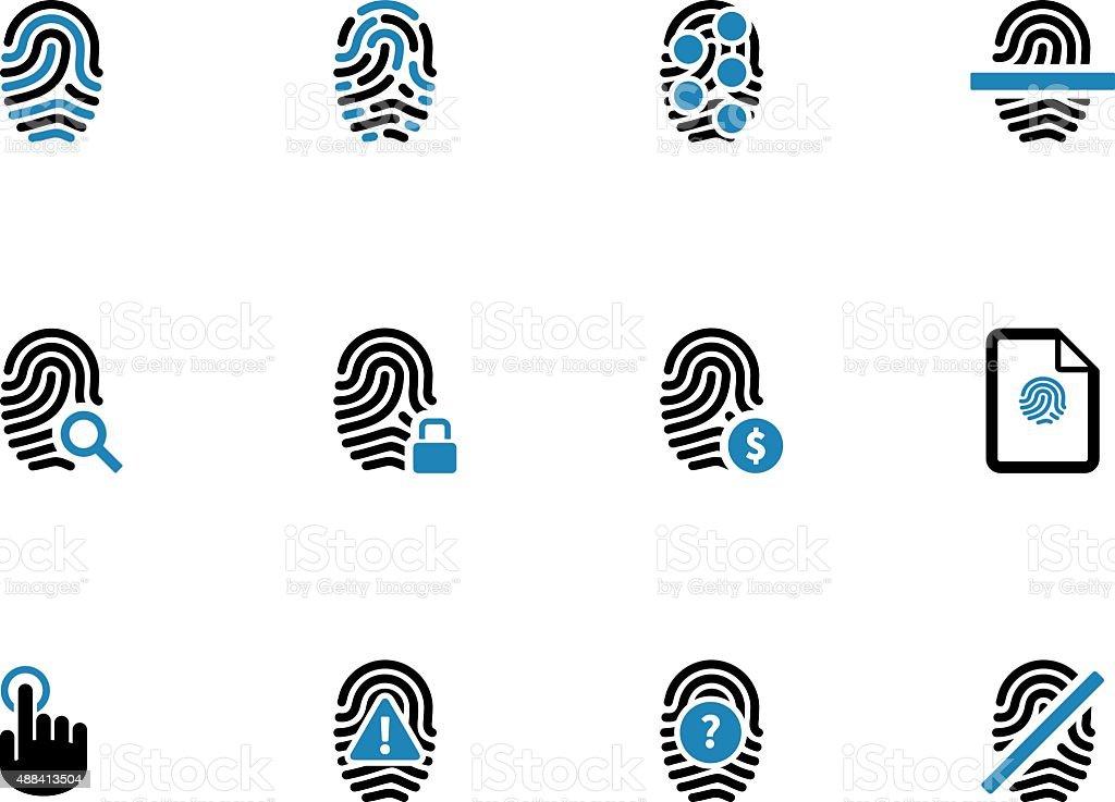 Security fingerprint duotone icons vector art illustration