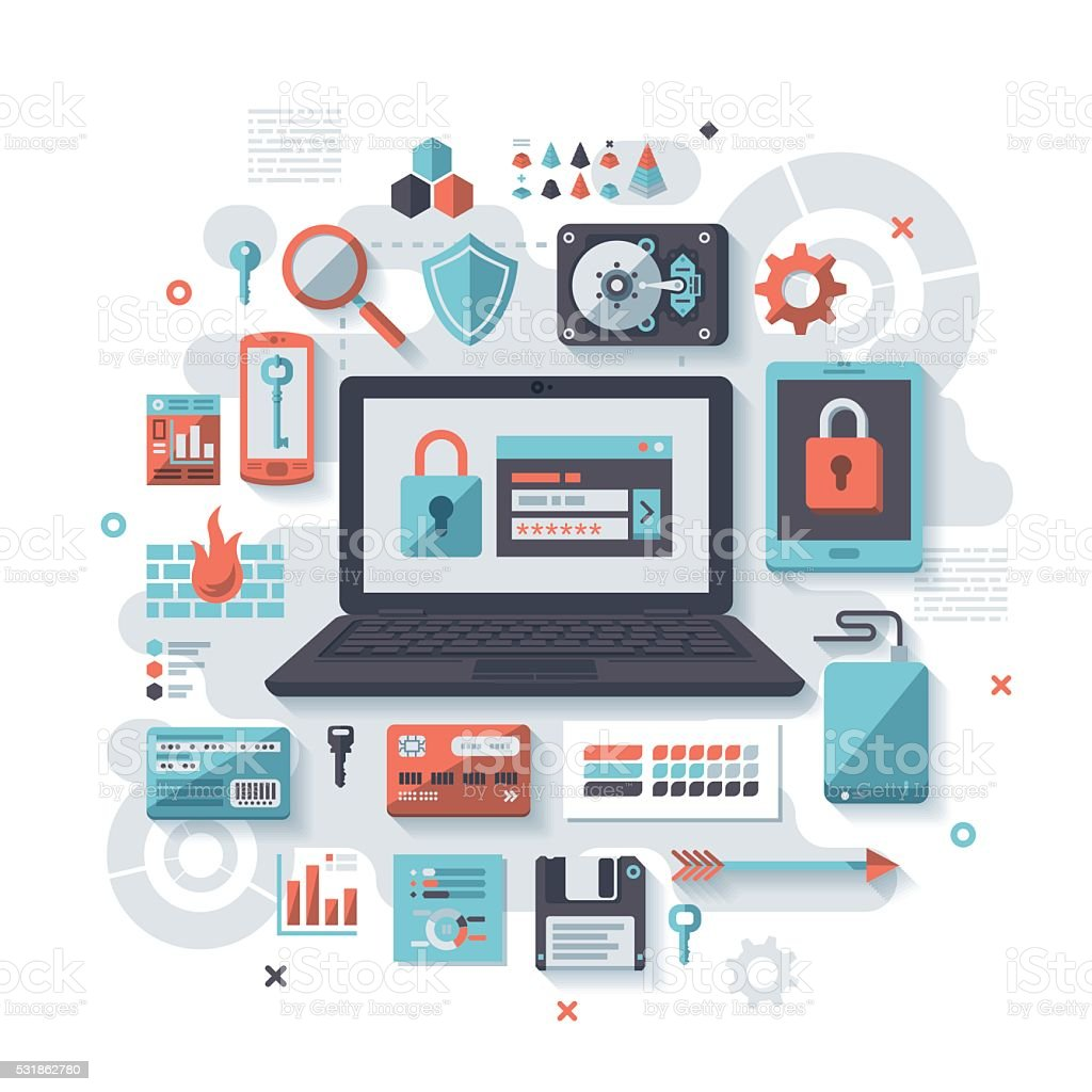 IT Security Flat Design Concept vector art illustration