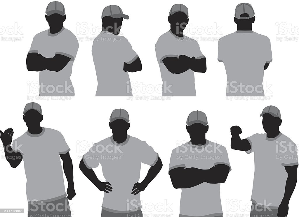 Security guard in various poses vector art illustration
