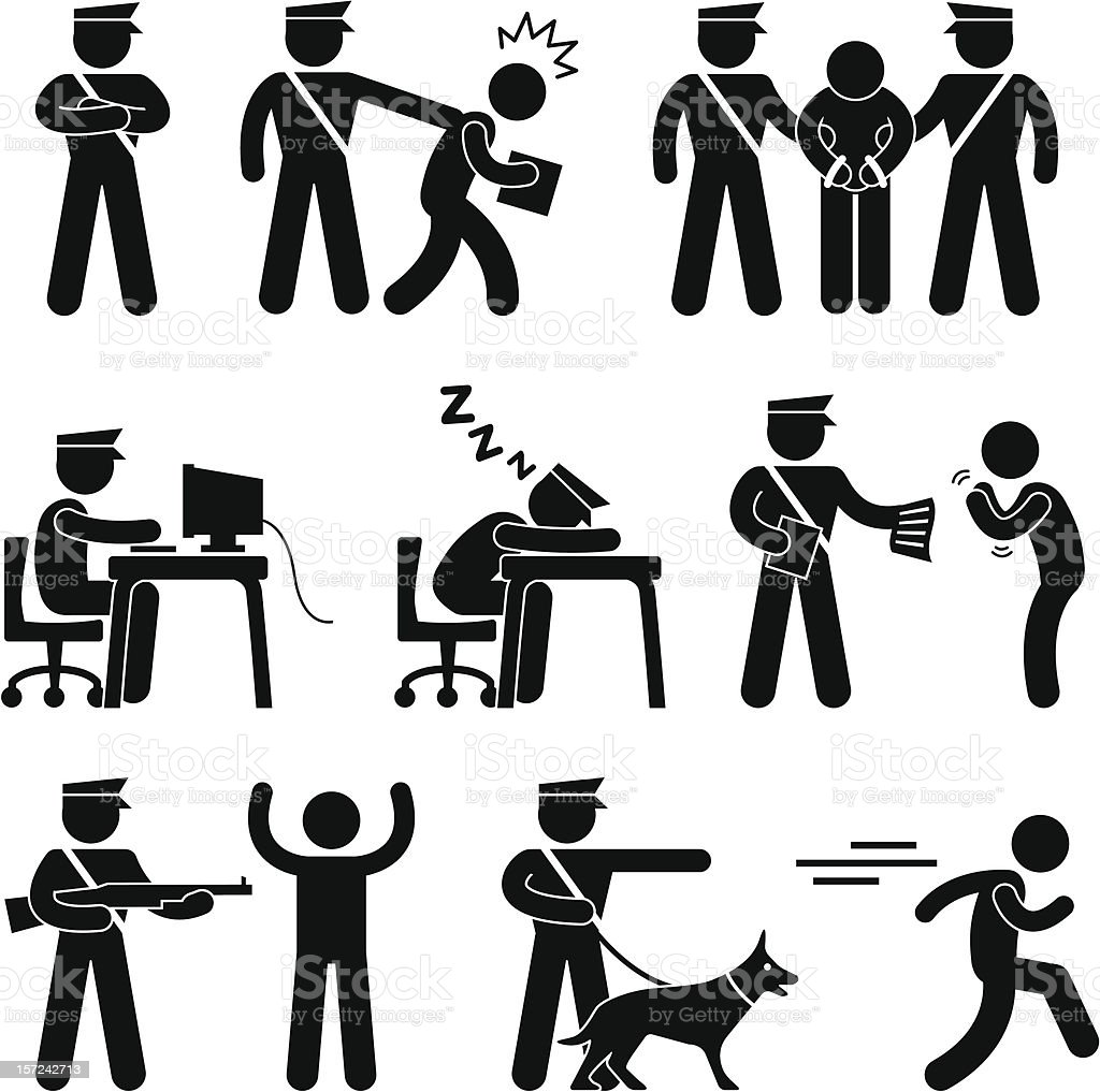 Security Guard Police Officer Thief Pictogram vector art illustration