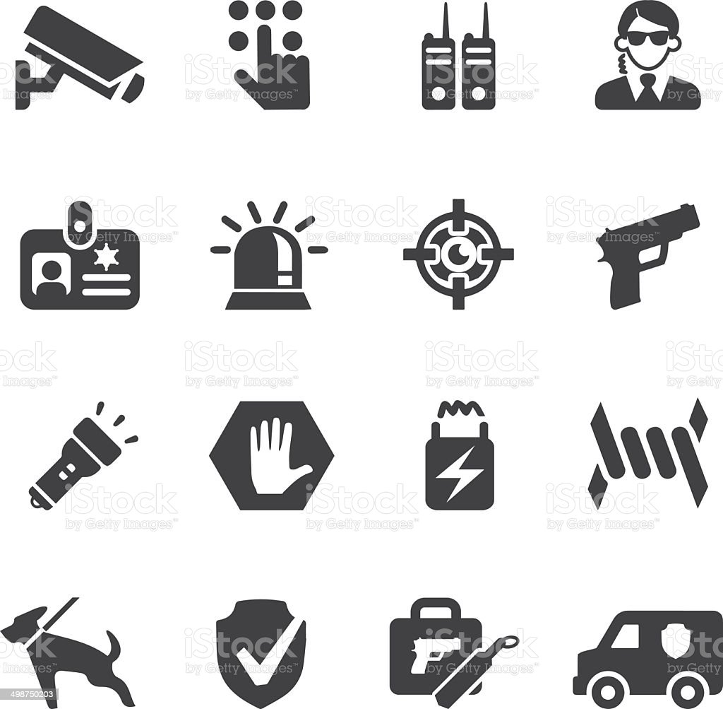 Security Guard Silhouette icons | EPS10 vector art illustration