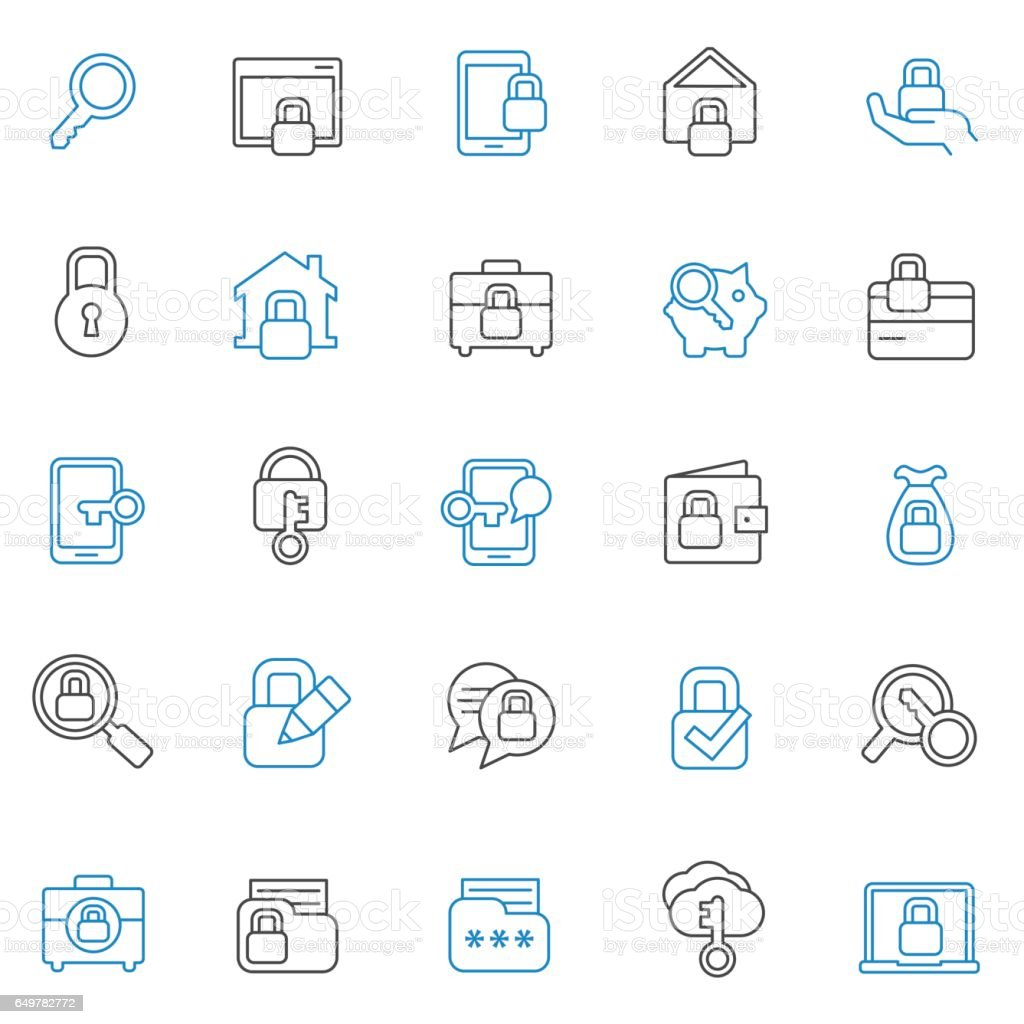 Security icon set vector art illustration